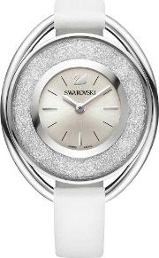 Crystalline Oval Silver Tone White Strap Watch 5158548
