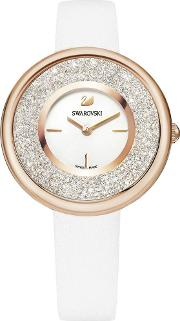 Crystalline Pure Rose Gold Tone White Strap Watch 5376083