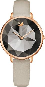 Ladies Crystal Lake Rose Gold Plated Taupe Watch 5415996