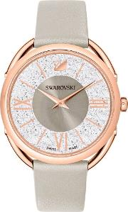 Ladies Crystalline Glam Rose Gold Plated Grey Leather Strap Watch 5452455