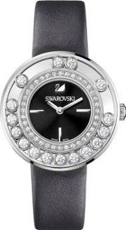 Lovely Crystals Black Leather Strap Watch 1160306