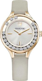 Lovely Crystals Mini Rose Gold Tone Grey Strap Watch 5261481