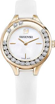 Lovely Crystals Mini Rose Gold Tone White Strap Watch 5242904