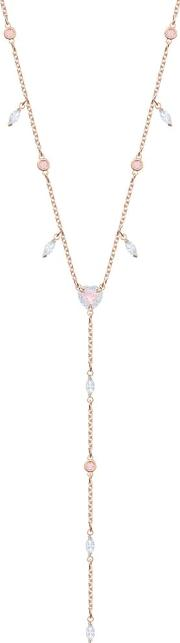 One Rose Gold Plated Clear Crystal Y Necklace 5439313