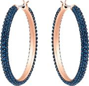 Stone Rose Gold Plated Blue Crystal Hoops Earrings 5408459