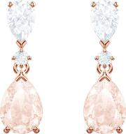 Vintage Rose Gold Plated Pear Shaped Pink Crystal Dropper Earrings 5466888