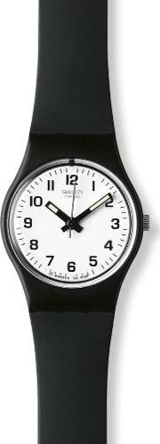 Ladies Black Rubber Strap White Round Dial Watch Lb153