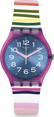 Ladies Funny Lines Multicolour Rubber Strap Watch Gp153
