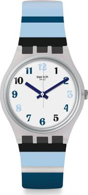 Night Sky Blue And White Stripe Rubber Strap Watch Ge275