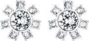 Cescel Silver Finish Clear Crystal Daisy Clockwork Stud Earrings Tbj2091 01 02