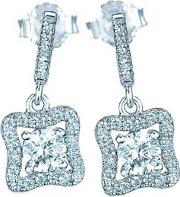 Ladies Sterling Silver Cubic Zirconia Open Square Dropper Earrings Re23804
