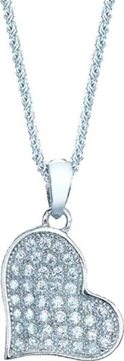 Ladies Sterling Silver Cubic Zirconia Pave Heart Pendant Re12104