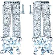Ladies Sterling Silver Cubic Zirconia Round Pave Bar Dropper Earrings Re12174