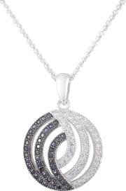 Silver Clear And Black Cz Twisted Circle Pendant Re16904