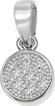 Silver Cz Small Pave Round Pendant Re13284