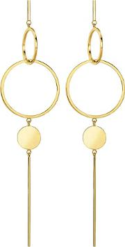 Ladies Glam And Soul Gold Plated Africa Ornaments Disc Earrings H1934 413 39