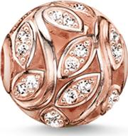 Rose Gold Plated Cubic Zirconia Leaves Bead K0080 416 14