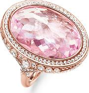 Rose Gold Plated Large Oval Pink Cz Ring Tr2023 633 9 54