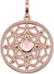 Rose Gold Plated Lotos Rose Quartz Pendant Pe690 536 9