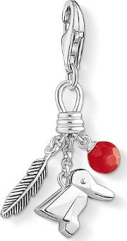 Silver Bird Feather Berry Charm 1331-908-10