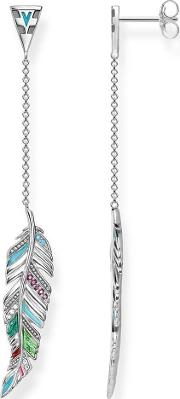 Silver Feather Dropper Earrings H1992 340 7