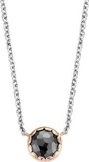 Ladies Rose Plated Silver Black Cubic Zirconium Necklace 3798br42