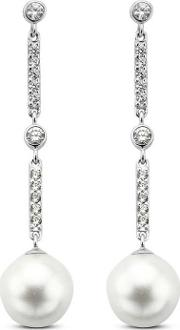 Ladies Silver Cubic Zirconia Pearl Dropper Earrings 7697pw