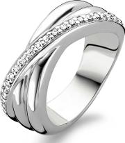 Ladies Silver Cubic Zirconium Crossover Ring 1861zi54