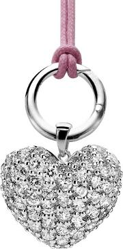 Ladies Silver Plain Charm Carrier With Cubic Zirconium Pava Heart 6186zi
