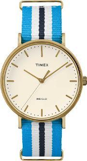 Weekender Ladies Gold Plated Fabric Strap Watch Tw2p91000