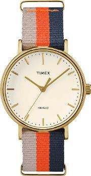 Weekender Ladies Gold Plated Fabric Strap Watch Tw2p91600