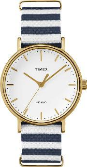 Weekender Ladies Gold Plated Fabric Strap Watch Tw2p91900