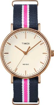 Weekender Ladies Rose Gold Plated Fabric Strap Watch Tw2p91500