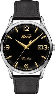 Mens Heritage Visodate Black Dial Black Leather Strap Watch T118.410.16.057.01