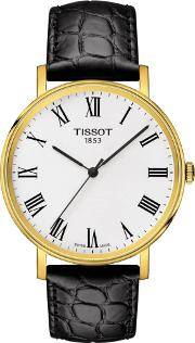 Mens T Classic Everytime Medium Gold Plated White Dial Black Leather Strap Watch T109.410.36.033.00