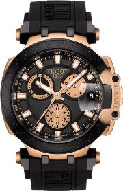 Mens T Race Chronograph Rose Gold Plated Black Rubber Strap Watch T115.417.37.051.00