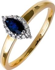 18ct Gold Diamond Sapphire Marquise Cluster Ring 18dr257 S 2c