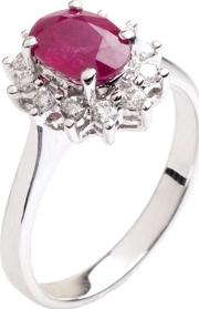 18ct White Gold Diamond Ruby Oval Ring 18dr410 R W