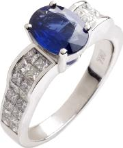 18ct White Gold Diamond Sapphire Oval Fancy Ring 18dr446 S W