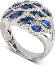 18ct White Gold Marine Sapphire And Diamond Wave Cluster Ring Lg193ra Bs N