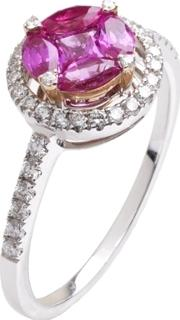 18ct White Gold Pink Sapphire Diamond Ring 18dr445 Ps W