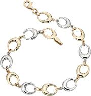 9ct Gold Two Colour Open Oval Bracelet Gb403