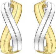 9ct Gold Two Tone Double Cross Over Earrings 2.55.8349