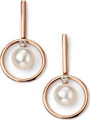 9ct Rose Gold Diamond Freshwater Pearl Dropper Earrings Ge2062w