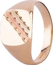 9ct Three Colour Gold Striped Cushion Signet Ring 095 S9933 W