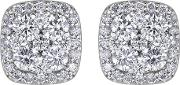 9ct White Gold Diamond Pave Square Cluster Stud Earrings E3838w33 9k Wg