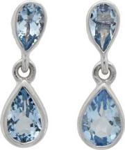 9ct White Gold Double Pear Cut Aquamarine Dropper Earrings 03.20.330