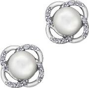 9ct White Gold Freshwater Pearl And Flower Stud Earrings E3613w 10