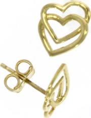 9ct Yellow Gold Double Entwined Heart Stud Earrings 10.01.257
