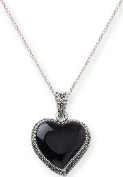 Silver Marcasite And Black Agate Heart Pendant Mp052